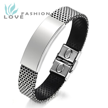 Wholesale 2015 New Hot Fashion Fine Jewelry Stainless Steel Pu Leather Bracelet Men Silver Bracelets Bangle For Men Gift Ph757mk(China (Mainland))