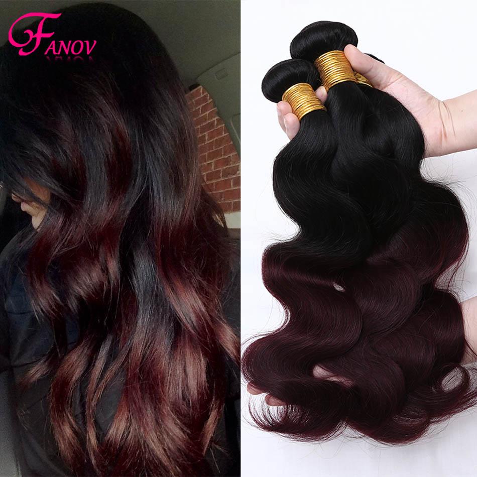 two toned brazilian hair weave bundles red brazilian virgin hair ombre hair extensions 1b/99j burgundy brazilian hair weave <br><br>Aliexpress