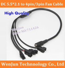 10pcs/lot High Quality DC 5.5*2.1(Female) to 4*4Pin/3Pin Fan Power Cable DC Converter Adapter Cable(China (Mainland))