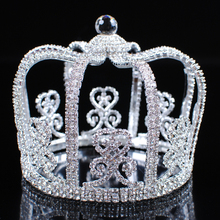 Stunning Men Round Crowns King Prince Tiaras Clear Rhinestone Crystal Wedding Bridal Pageant Party Costumes Hair Jewelry(China (Mainland))