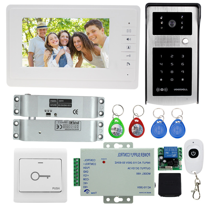 Free shipping 7'' video door phone with 700TVL outdoor camera intercom system doorbell with electric bolt lock for home secure(China (Mainland))