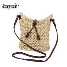 2016 Newest Fashion Woven Shoulder Bags Straw Summer Women Weave Crossbody Burlap Jute Pouches Beach Small Travel Handbag