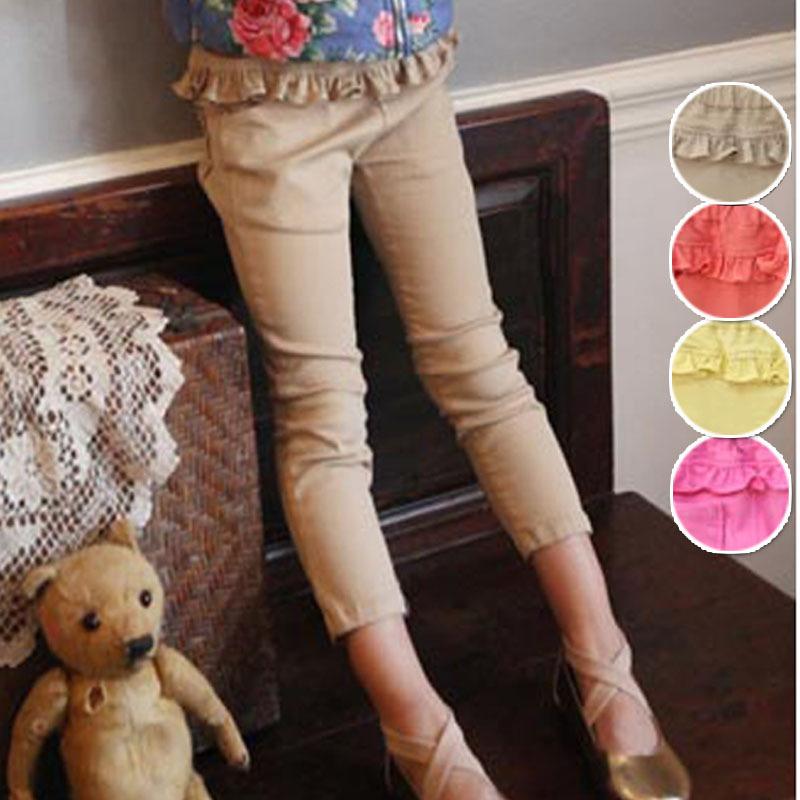 Quality Fall Children Pants Korean Hot Pure Cotton Baby Girl Candy Colour Pencil Pants Leggings Kids Casual Pants Wear GX645