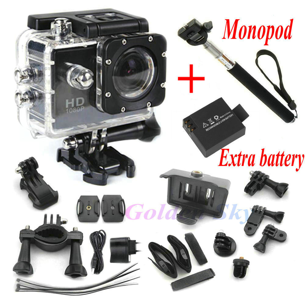mini camcorders Full HD DVR SJ4000 video Sport camera extreme Sport Helmet Action Camera Two battery+monopod(China (Mainland))