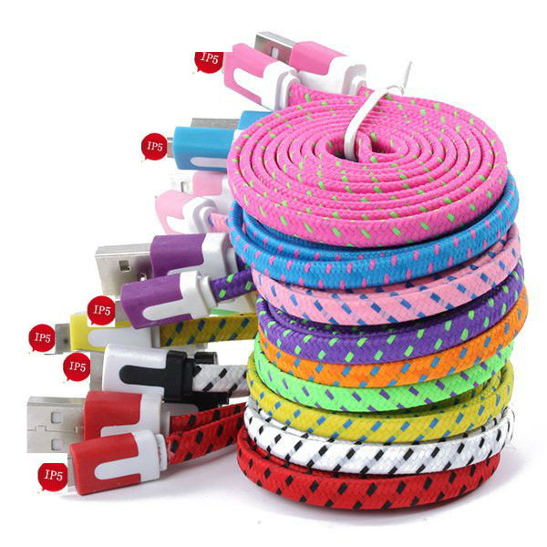 3M/10FT Extra Long Fabric Braided Flat USB Charger Data Sync Cable For Apple iPhone 5 5S 5C 6 6 Plus iPad 4 Air 2 Mini 1/2/3(China (Mainland))