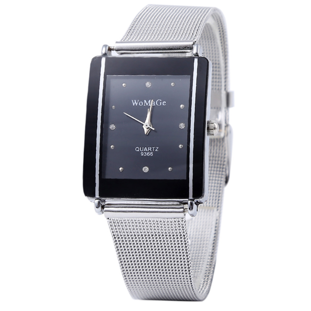Black And White Dial Men Stainless Steel Silver Band Watches Analog Quartz Wrist Watch Free Shipping