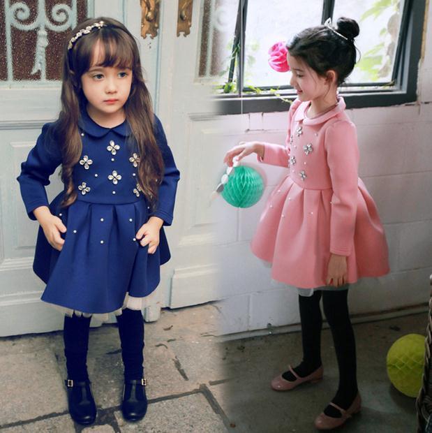 2015 Новые зимние дети девушки платье Дети девушка цветы платье принцессы шерсть теплый платье