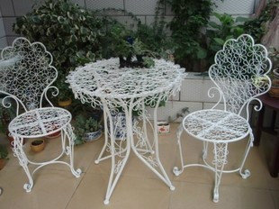 European-style three-piece casual outdoor furniture , wrought iron balcony patio furniture disassembly combination of folding ta(China (Mainland))