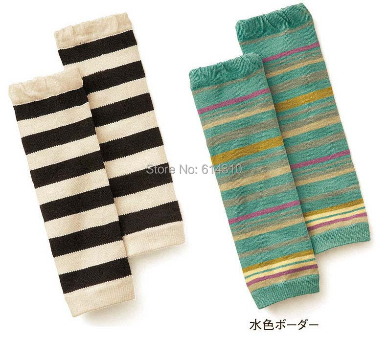 Free shipping 2 pairs/lot Children socks set kneepad ankle sock black and white stripe green color(China (Mainland))