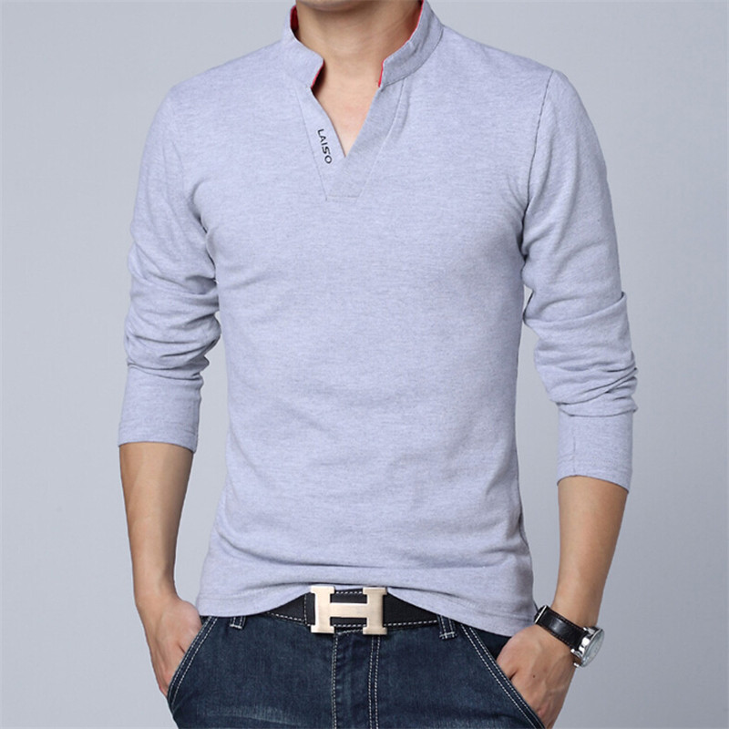 Hot 2015 New Autumn Brand Turn-down Collor Slim Fit Long Sleeve T Shirt Men Trend Casual Men T-Shirt Cotton T Shirts(China (Mainland))
