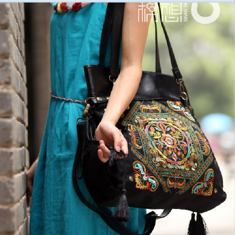 2015 Character design Chinese style embroidery ethnic shoulder bags women tote bag bolso mujer(China (Mainland))