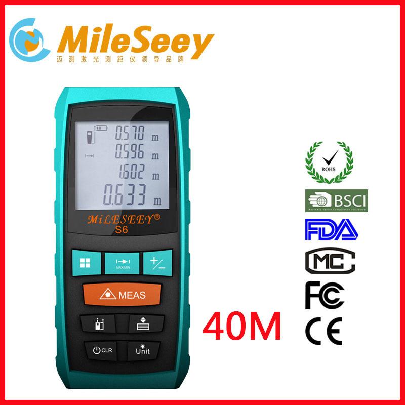Free Shipping S6 40m 131ft Digital Laser distance meter Rangefinder Range finder Bubble level Tape measure Area/volume tool