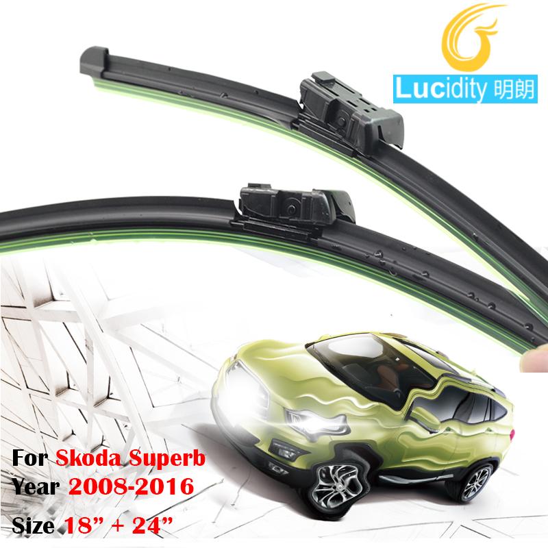 Black Car Soft Rubber Windscreen Rain Snow Wiper Blades For Skoda Superb 2008-2016 Frameless Windshield 1Pair(China (Mainland))