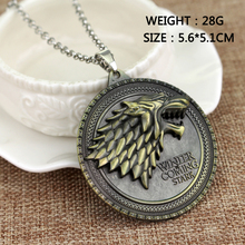 """15 styles HBO Game of Thrones necklace House Stark Winter Is Coming Bronze 2"""" Metal Family Crest pendant jewelry souvenirs(China (Mainland))"""