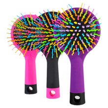 1 Piece Hot Selling Rainbow Volume Anti-static Magic Hair Curl Straight Massage Comb Brush Styling Tools With Mirror HB88(China (Mainland))