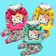 2015 new spring autumn baby girls clothing set children hoodies cotton girls t-shirts+pants sport suit set children outerwear