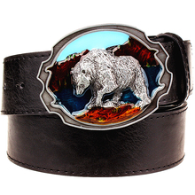 Buy Fashion New leather belt metal buckle Polar bear belts punk rock exaggerated russian style trend decorative belt men gift for $9.15 in AliExpress store