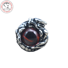 925 sterling silver earrings for men Garnet dragon eye stud earring 2015 new fashion thai silver man male jewelry E01(China (Mainland))