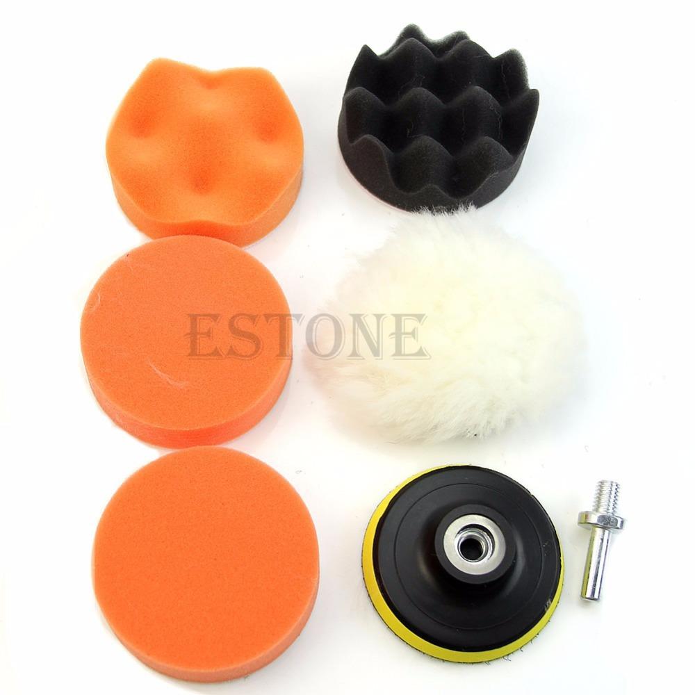 free shipping 7 Pcs 3 inch Buffing Pad Auto Car Polishing Wheel Kit Buffer + M14 Drill Adapter(China (Mainland))
