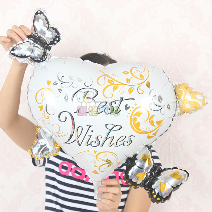 20pcs/lot Best wishes Heart With Butterfly Foil Balloons Helium Inflatable Gift Balloon Party Supplies America Imported(China (Mainland))