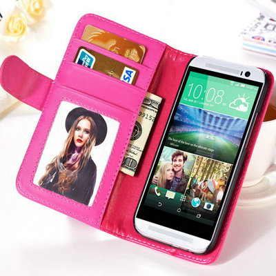 10 pcs/lot Vintage Flip PU Leather Case For HTC ONE M8 Wallet Style Photo Frame With Stand Phone Bag 8 Colors Wholesale