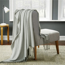 100% cotton grey decorative blanket,size 120x 180cm knitted sleeping blanket,fahion fringe sofa blanket,baby knitted quilt cover(China (Mainland))