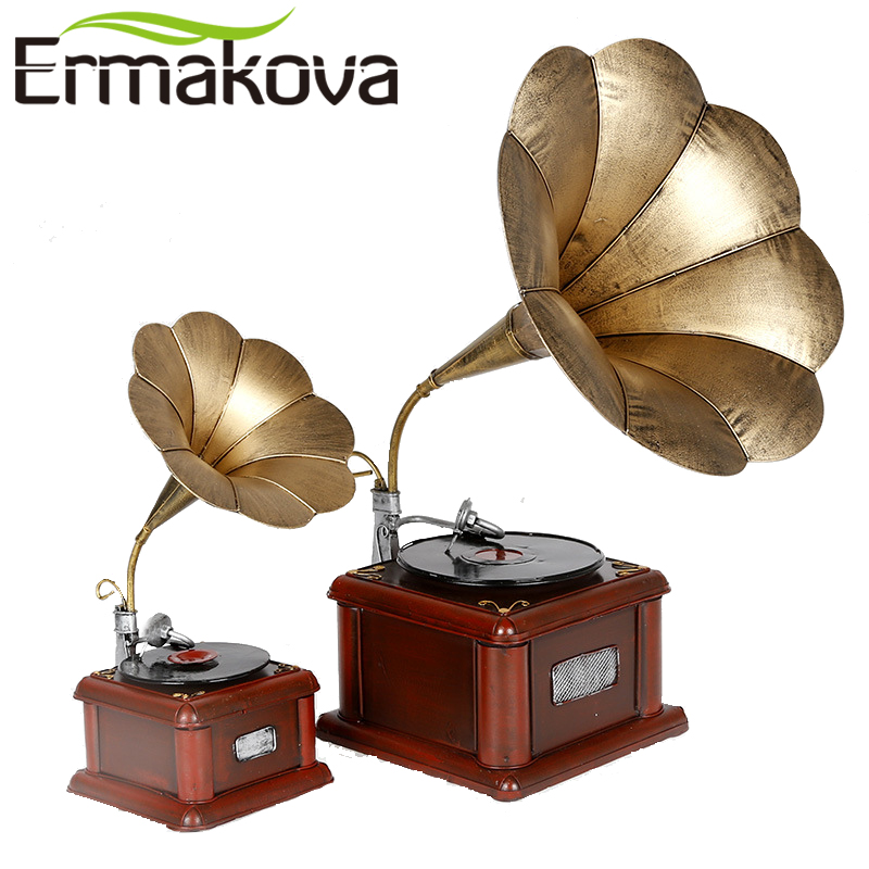 ERMAKOVA Metal Retro Phonograph Model Vintage Record Player Prop Antique Gramophone Model Home Office Club Bar Decor Ornaments(China (Mainland))
