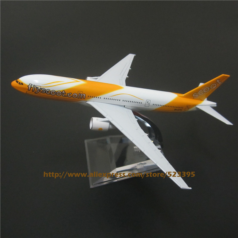 16cm Alloy Metal Airplane Model Air Singapore Flyscoot Scoot B777 Airlines Boeing 777 Airways Plane Model W Stand Aircraft Toy(China (Mainland))