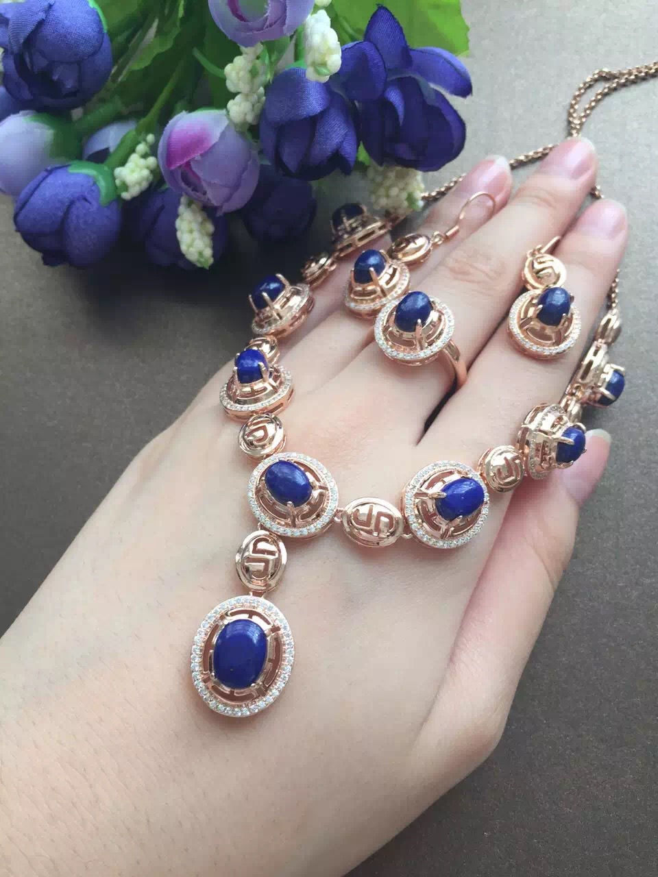 11.11 Celebration great present 925 sterling silver natural Lapis Lazuli Sets stone fine jewelry sets for women <br><br>Aliexpress