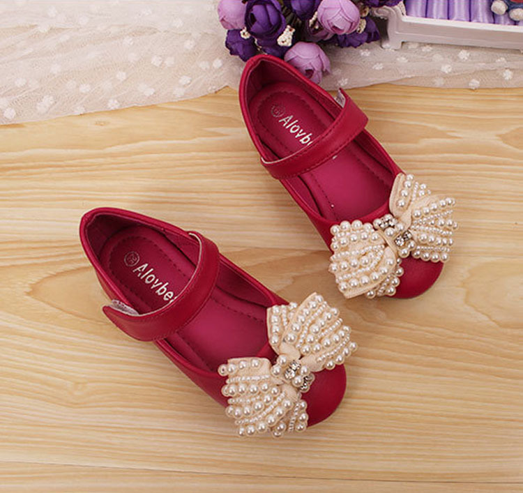 Large Charm Bowtie Child Wedding Kids Glitter Shoes New Design Closed Toe Beautiful Girls Pearl Sandals<br><br>Aliexpress