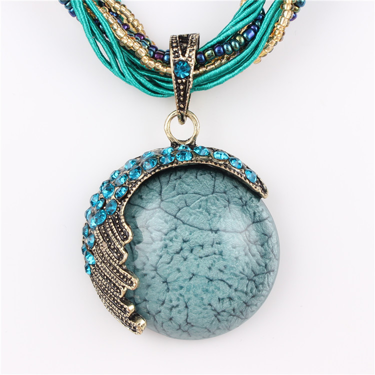 2015 New Hot Fashion Vintage Rope Chain Turquoise Stone Beads Necklace for women best gift Pendant