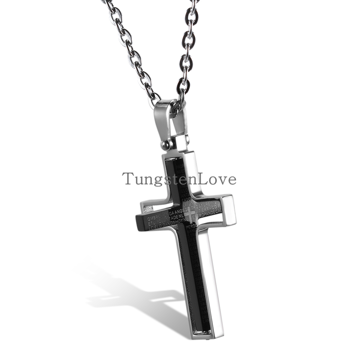 New Personality Rotatable Stainless Steel Mens Womens Spanish Lord's Prayer Cross Pendant Necklace Black Color collar hombre(China (Mainland))