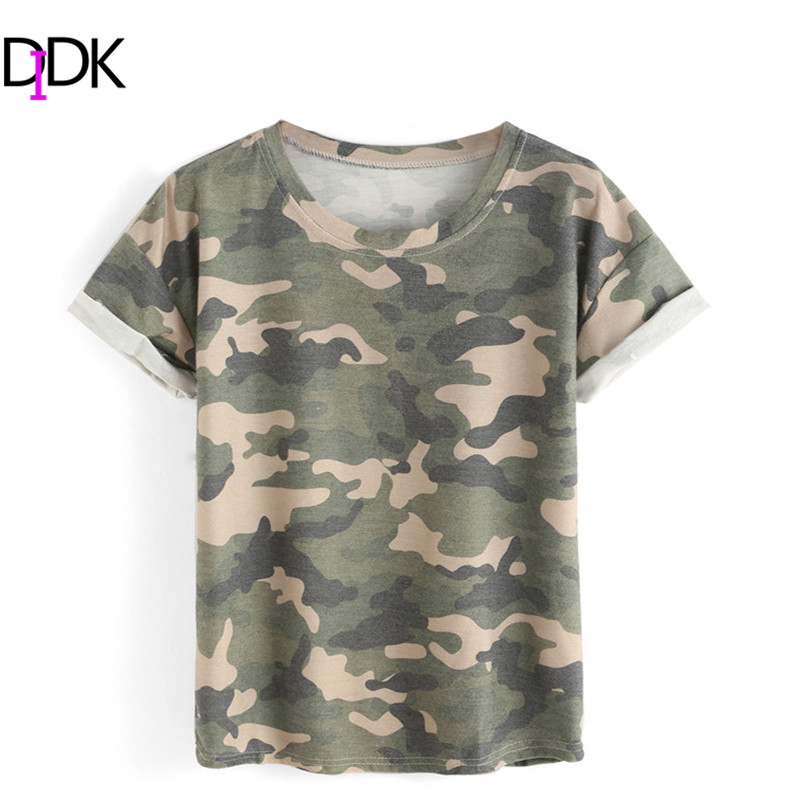 DIDK Women Fashion Clothes Women 2016 Ladies Summer Tops Round Neck Rolled Short Sleeve Casual Camouflage T-shirt(China (Mainland))