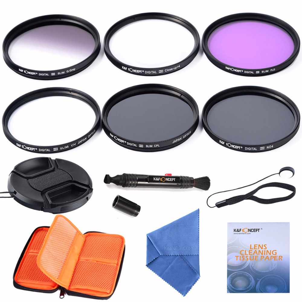 62mm Slim UV CPL FLD ND4 Filter lens kits+slim Graduated Grey Filter + Close up +4+Cleaning kits+pouch bag For Canon DSLR Camera(China (Mainland))