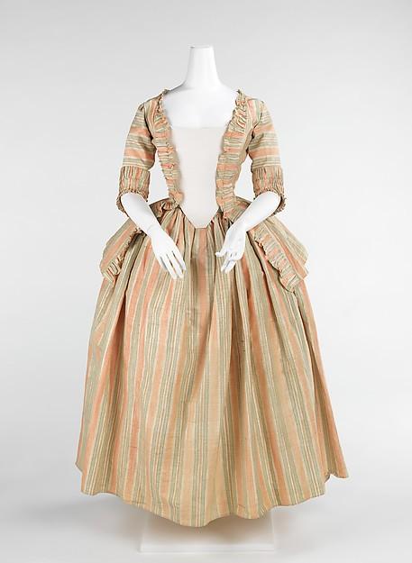 18th century french dress cotton stripe bustle dress