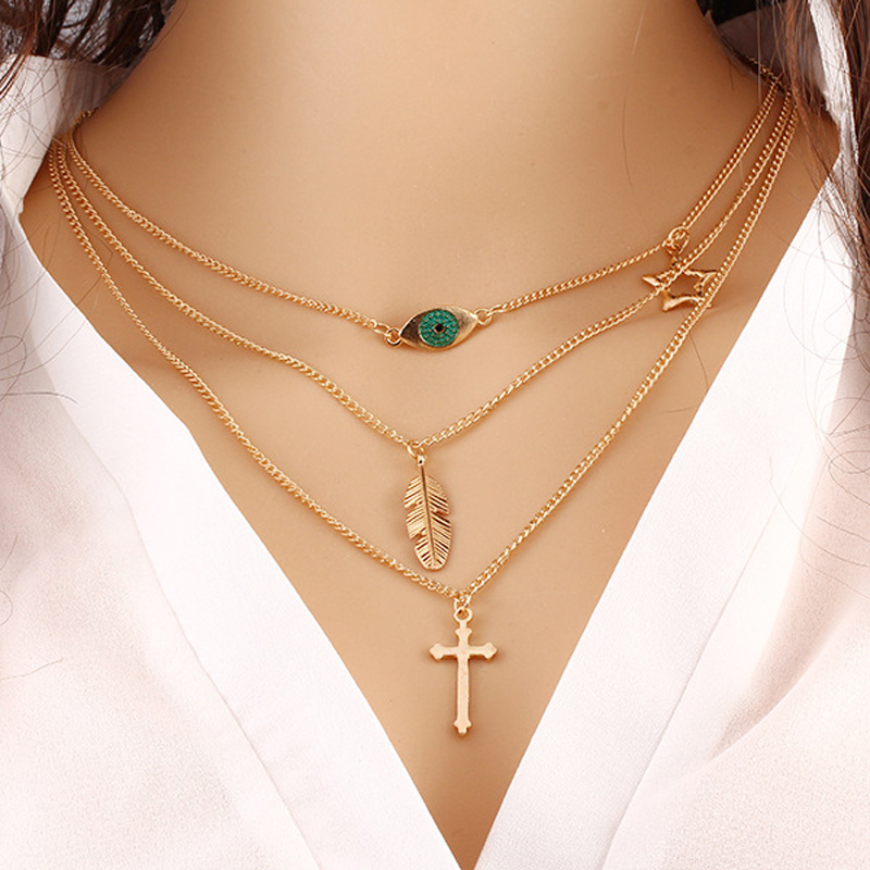Gold Plated Fatima Hand 3 Layer Chain Bar Necklace Beads and Long Strip Pendant Necklaces Jewelry JHS019 (19 types available)(China (Mainland))