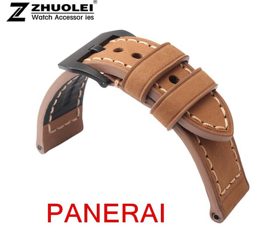 24 мм ( 22 мм пряжка ) пилот заклепки стиль натуральная кожа часы ремень развертывания застежка для бренда