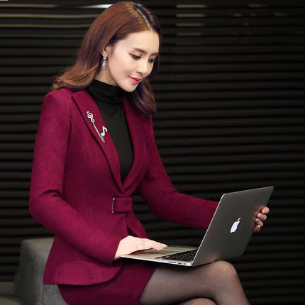 Autumn and winter dress dress occupation suit fashion dress suit collar wool coat interview suit