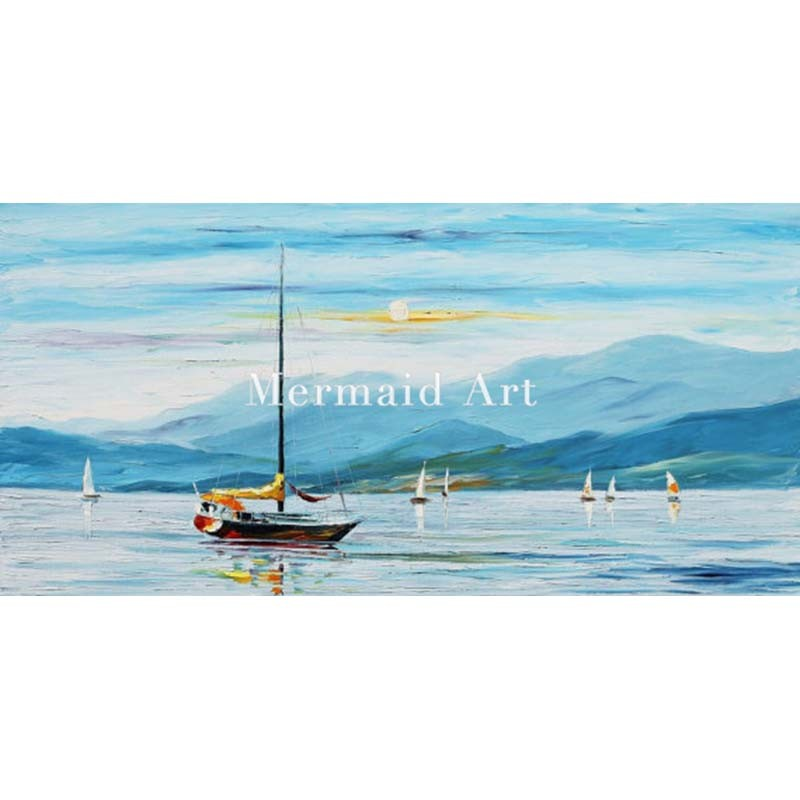 Buy Hand Painted Landscape Abstract Sail Regatta Palette Knife Modern Oil Painting Canvas Wall Living Room Artwork Fine Art cheap