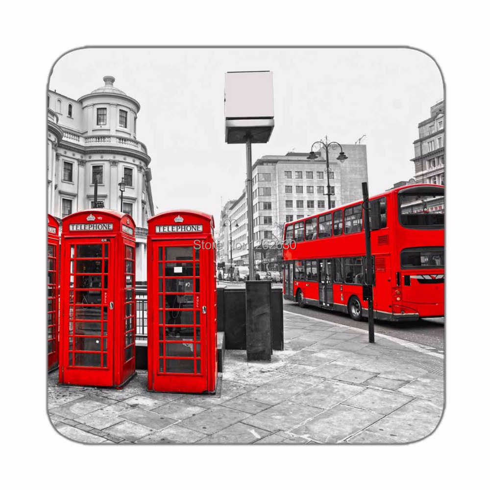 Black and white London City Styel Retro Red bus and Telephone Boxes Print Custom Mat Drink Tea Cup Cork Coasters Pack of 4()