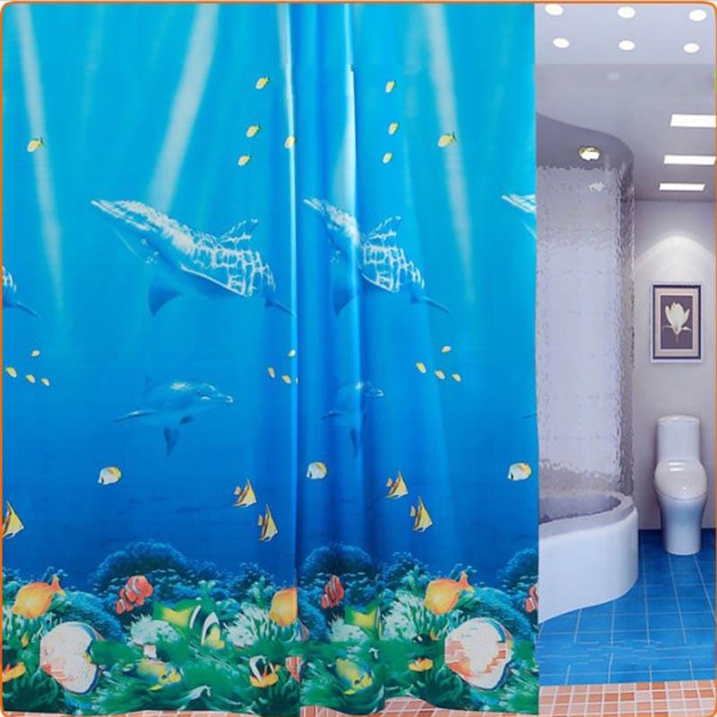 Hotsale New 180 x 180cm Classic Blue Dolphin Waterproof PEVA Thicken Bathroom Bath Shower Curtain With 12pcs Curtain Hooks Rings(China (Mainland))