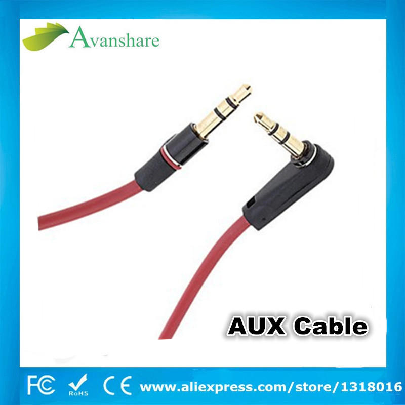 2015 New 3.5mm Aux Cable Jack to Jack Gold Plated 90 Degree Right Angle Audio Cable for Car for iphone monster B headphone(China (Mainland))