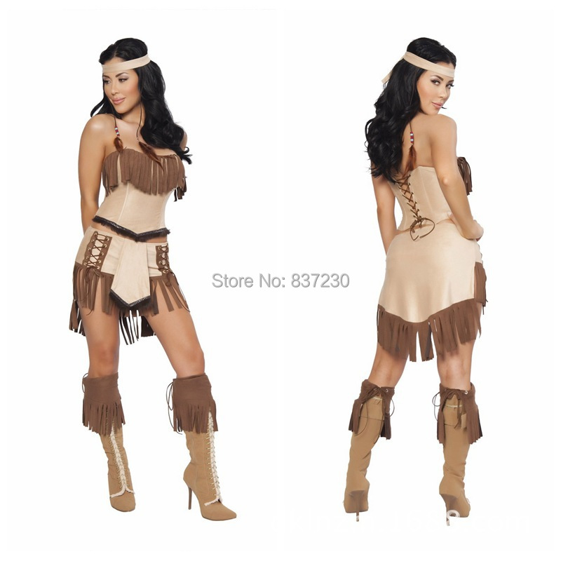 product free shipping indian costume womens pocahontas adult fancy dress