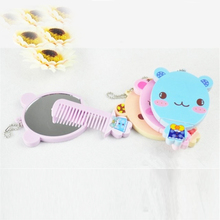 Cute MINI make up mirror&comb set Compact Pocket Illuminated Beauty Makeup Mirrors random color&pattern free shipping 0073(China (Mainland))