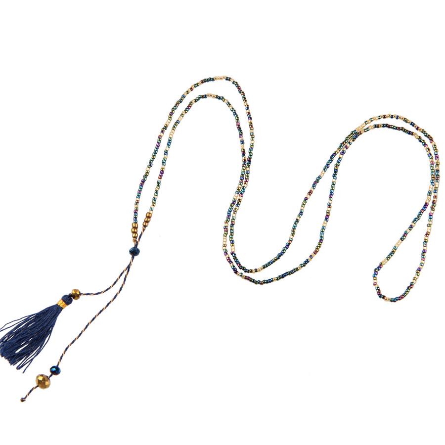 Classic Dark Blue Tassel Pendant Necklaces Blue Seed Bead Agate Bead Wrap Bracelets Charm Tiny Chain Long Choker Fashion Jewlery(China (Mainland))