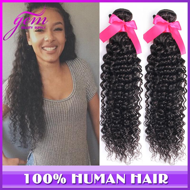 Peruvian Deep Wave Curly Virgin Hair 3pcs lot Peruvian Virgin Hair Bundles Kinky Curly Vip Gem Beauty Hair Products Soft Neat 1B(China (Mainland))