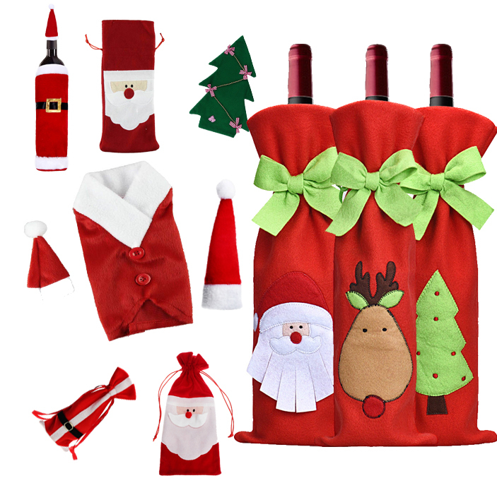 Гаджет  New arrival Christmas Decoration Supplies Red Wine Bottle Cover Bags Home Decoration Party Santa Claus Christmas None Дом и Сад