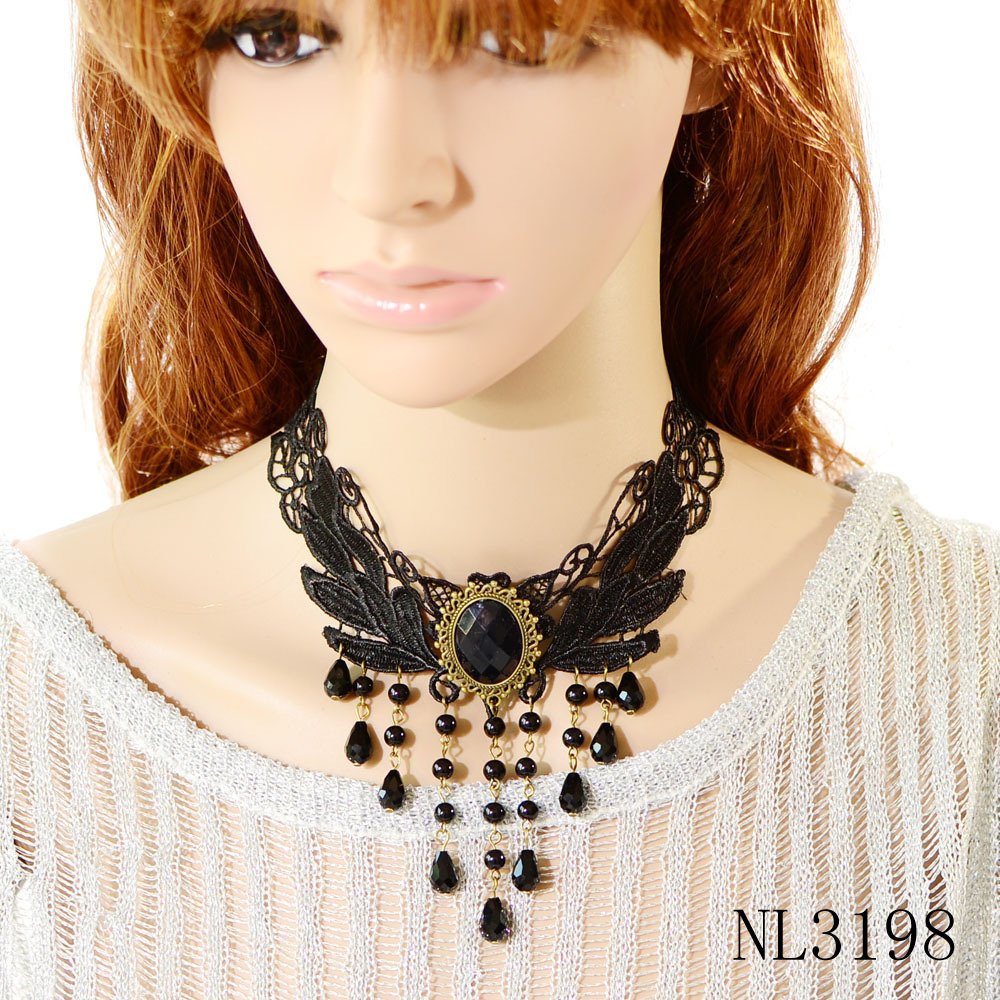 black elegant teardrop bead pendant choker collar necklace for women(China (Mainland))