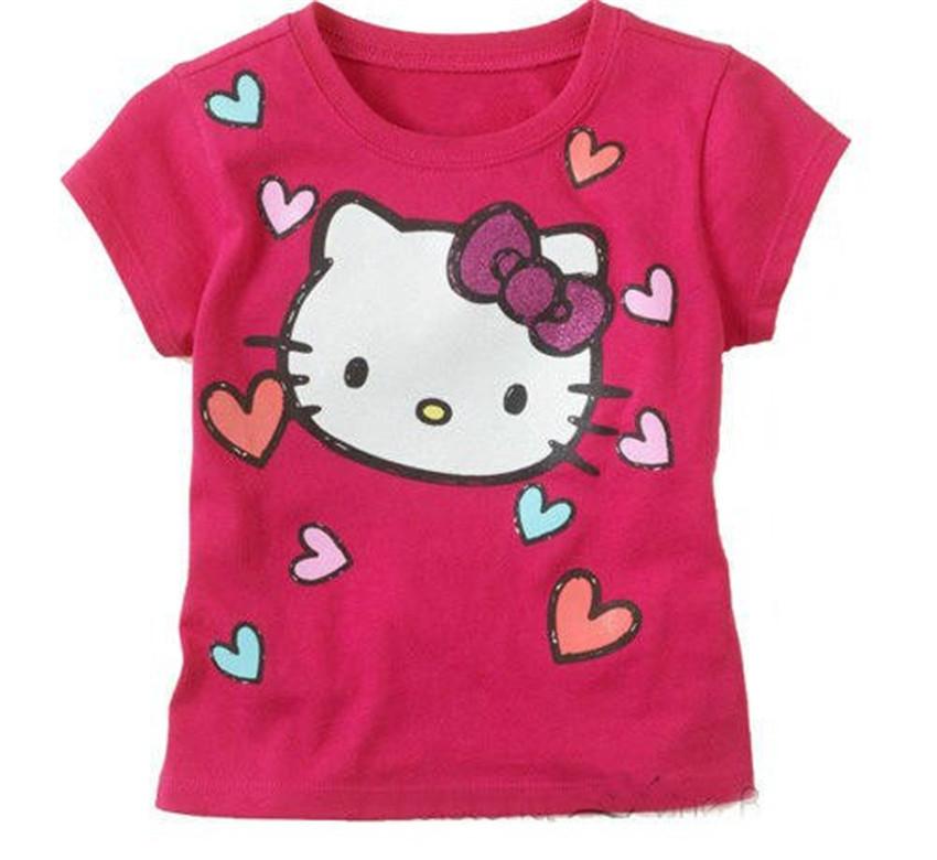 Retail New 2014 Baby Girl Cartoon Hello Kitty Short T Shirt Girl's Cotton Summer T Shirt Kids KT Cat Pink Rose Red T-Shirt(China (Mainland))