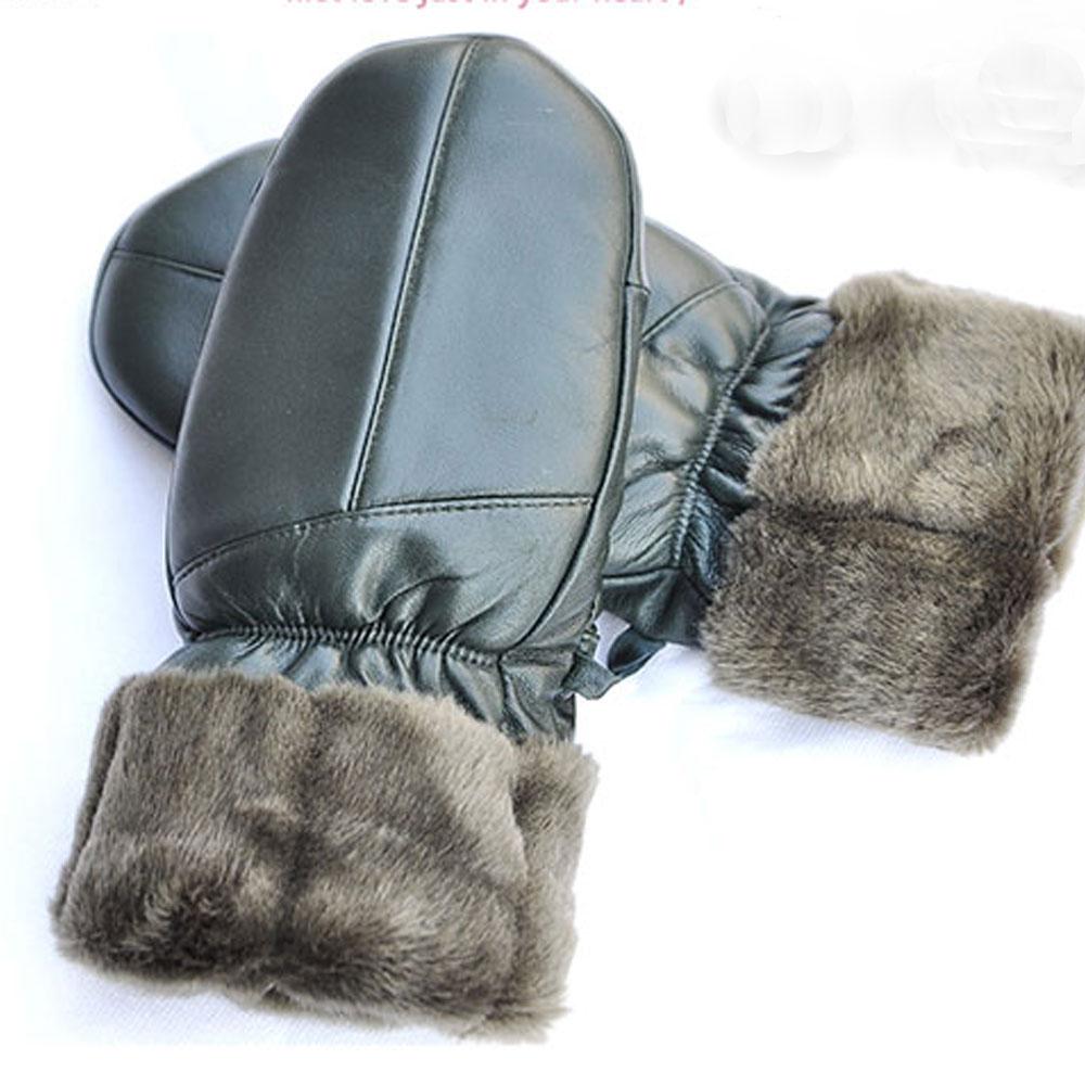 Fingerless Leather Wool Gloves Men Women Warm Winter Fingerless Leather Gloves luva de inverno(China (Mainland))